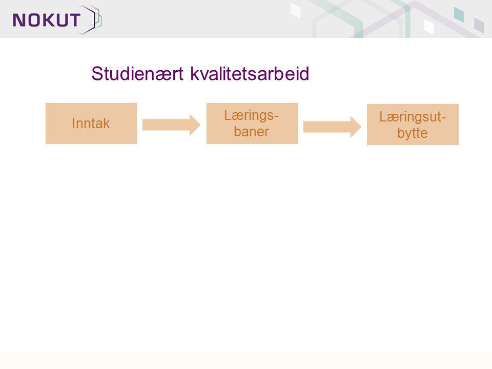 Inntak Lærings- baner Læringsut- bytte Studienært kvalitetsarbeid