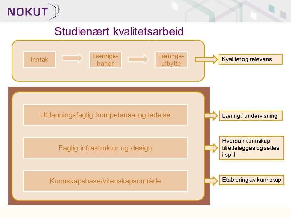 Faglig infrastruktur og design Kunnskapsbase/vitenskapsområde Etablering av kunnskap Hvordan kunnskap tilrettelegges og settes i spill Kvalitet og rel