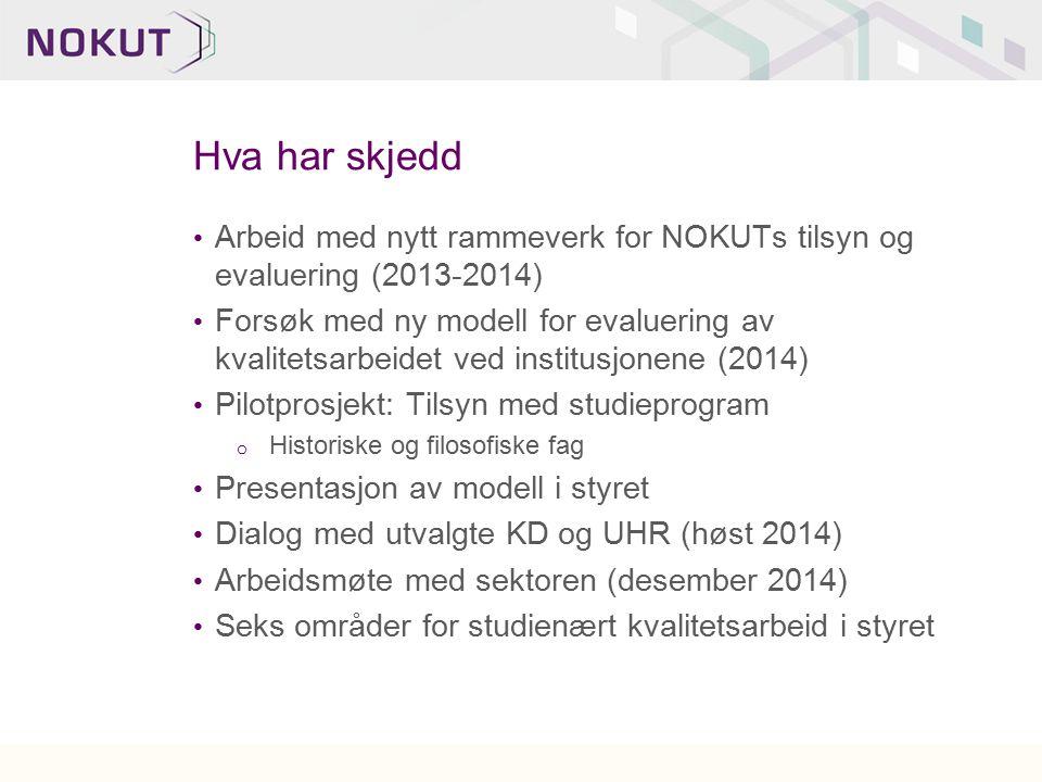 Hva har skjedd Arbeid med nytt rammeverk for NOKUTs tilsyn og evaluering (2013-2014) Forsøk med ny modell for evaluering av kvalitetsarbeidet ved inst