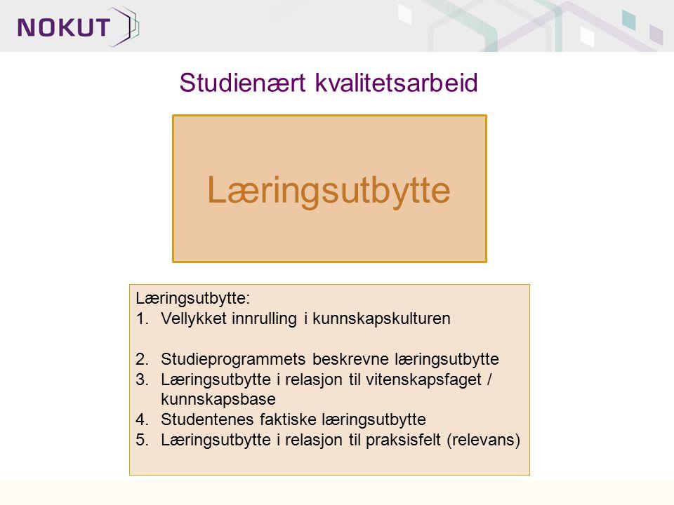 Læringsutbytte Læringsutbytte: 1.Vellykket innrulling i kunnskapskulturen 2.Studieprogrammets beskrevne læringsutbytte 3.Læringsutbytte i relasjon til