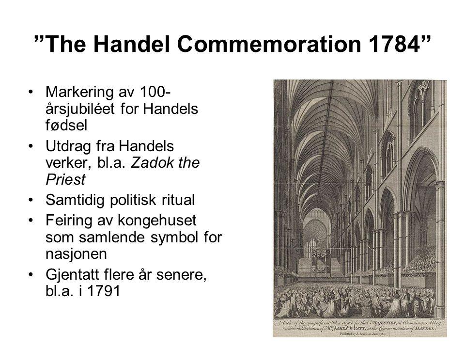 The Handel Commemoration 1784 Markering av 100- årsjubiléet for Handels fødsel Utdrag fra Handels verker, bl.a.