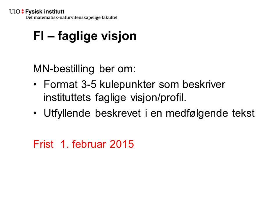 FI – faglige visjon MN-bestilling ber om: Format 3-5 kulepunkter som beskriver instituttets faglige visjon/profil.