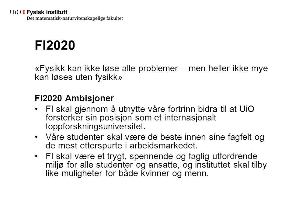 FI2020 «Fysikk kan ikke løse alle problemer – men heller ikke mye kan løses uten fysikk» FI2020 Ambisjoner FI skal gjennom å utnytte våre fortrinn bidra til at UiO forsterker sin posisjon som et internasjonalt toppforskningsuniversitet.