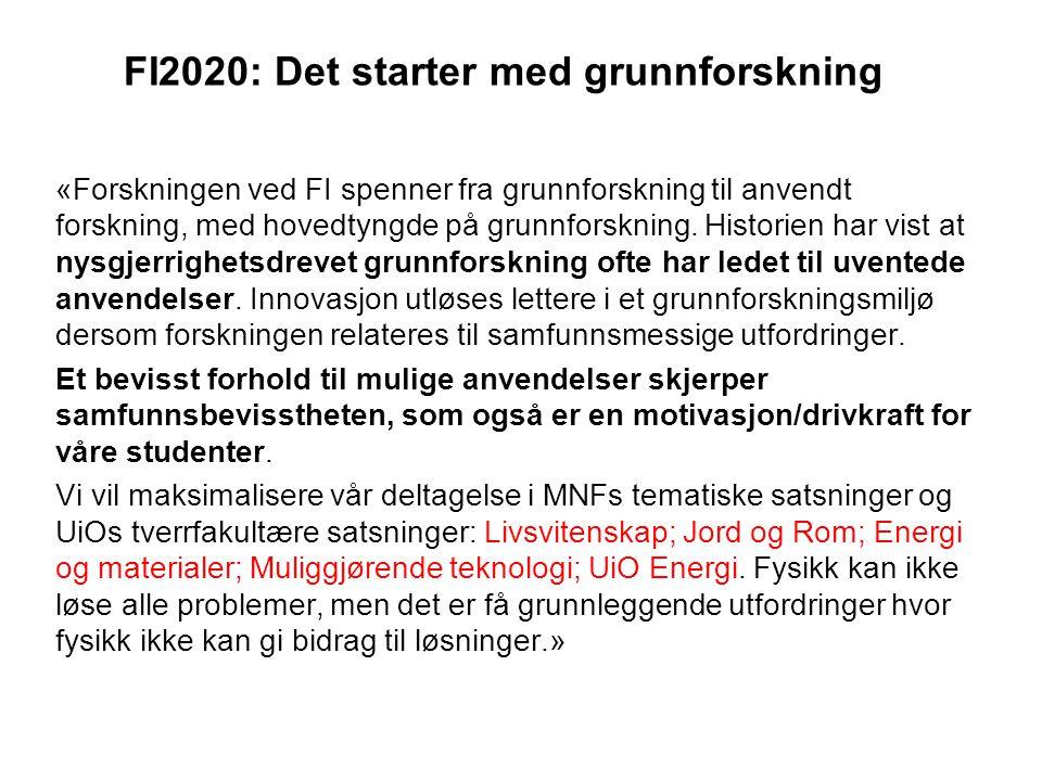 FI2020: Det starter med grunnforskning «Forskningen ved FI spenner fra grunnforskning til anvendt forskning, med hovedtyngde på grunnforskning.