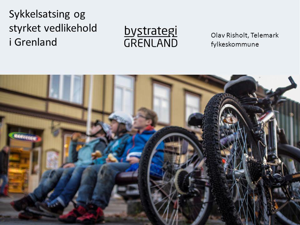 Sykkelsatsing i Grenland Fra 4 til 8% 1.Konsentrert utbygging i by- båndet 2.Investeringer i bedre infrastruktur 3.Styrket drift og vedlikehold 4.Informasjon og holdningsskapende arbeid 5.Bilrestriktive tiltak