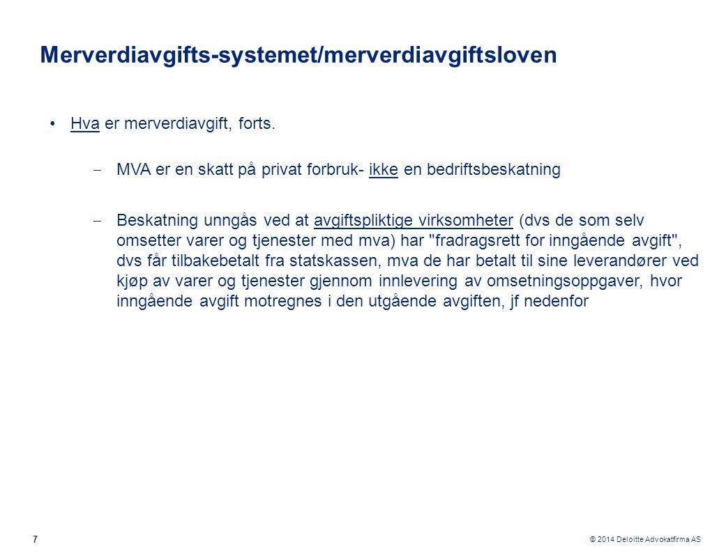 © 2014 Deloitte Advokatfirma AS Fradragsrett - en avgift på merverdien ….