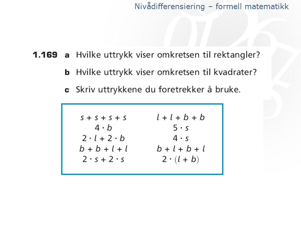Nivådifferensiering – formell matematikk