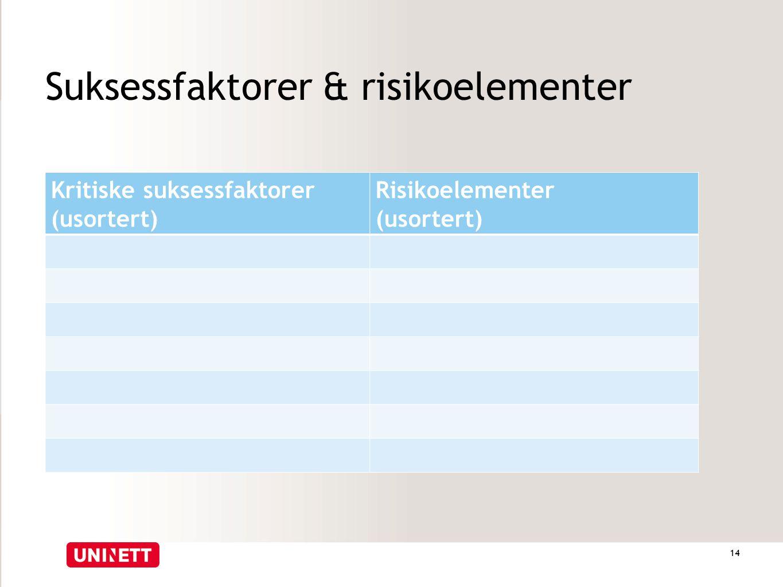 Suksessfaktorer & risikoelementer Kritiske suksessfaktorer (usortert) Risikoelementer (usortert) 14