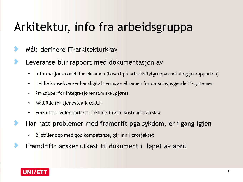 Arkitektur, info fra arbeidsgruppa Mål: definere IT-arkitekturkrav Leveranse blir rapport med dokumentasjon av Informasjonsmodell for eksamen (basert