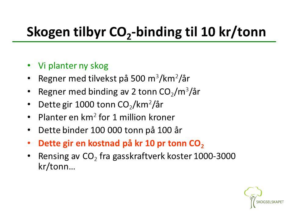 Skogen tilbyr CO 2 -binding til 10 kr/tonn Vi planter ny skog Regner med tilvekst på 500 m 3 /km 2 /år Regner med binding av 2 tonn CO 2 /m 3 /år Dette gir 1000 tonn CO 2 /km 2 /år Planter en km 2 for 1 million kroner Dette binder 100 000 tonn på 100 år Dette gir en kostnad på kr 10 pr tonn CO 2 Rensing av CO 2 fra gasskraftverk koster 1000-3000 kr/tonn…