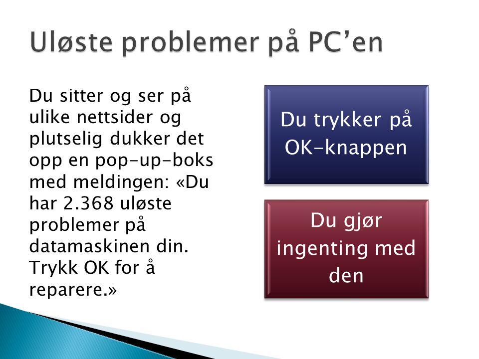 Du sitter og ser på ulike nettsider og plutselig dukker det opp en pop-up-boks med meldingen: «Du har 2.368 uløste problemer på datamaskinen din.