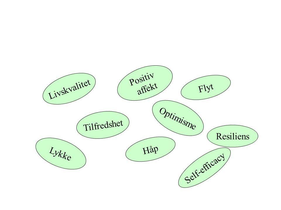 L i v s k v a l i t e t T i l f r e d s h e t Positiv affekt Optimisme Håp L y k k e Flyt Self-efficacy Resiliens