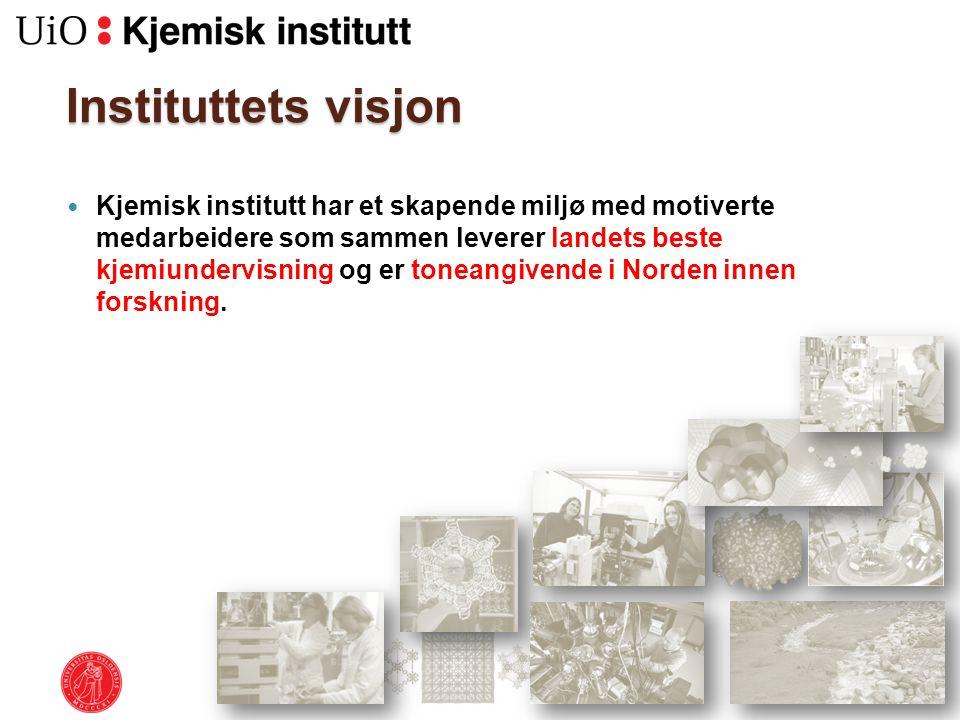 Instituttets visjon Kjemisk institutt har et skapende miljø med motiverte medarbeidere som sammen leverer landets beste kjemiundervisning og er toneangivende i Norden innen forskning.