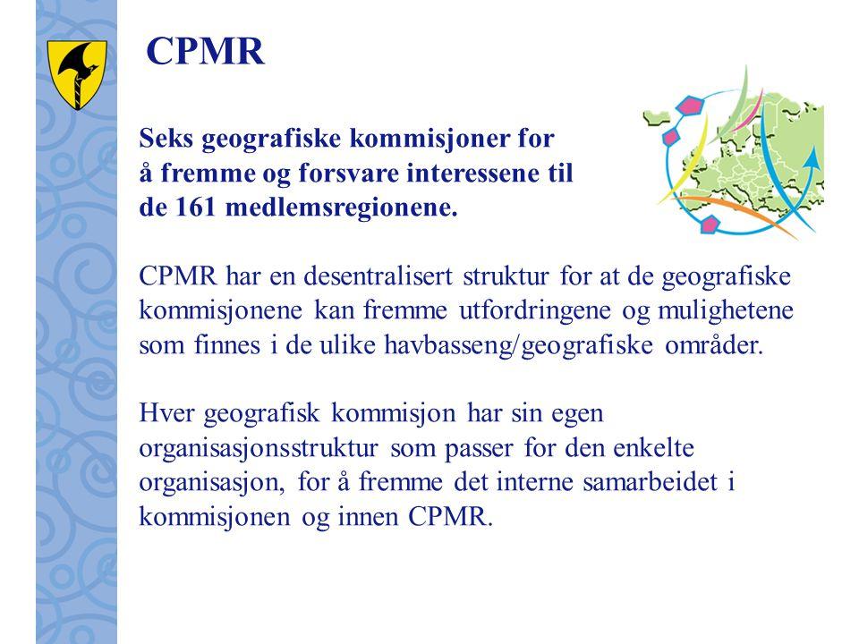 CPMR Seks geografiske kommisjoner for å fremme og forsvare interessene til de 161 medlemsregionene.