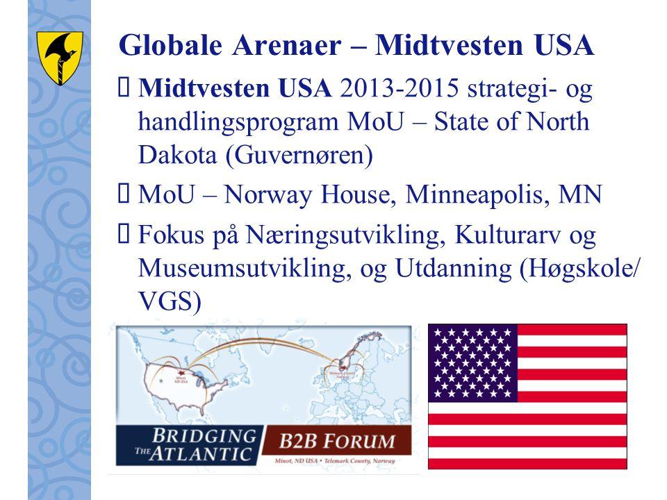 Globale Arenaer – Midtvesten USA  Midtvesten USA 2013-2015 strategi- og handlingsprogram MoU – State of North Dakota (Guvernøren)  MoU – Norway House, Minneapolis, MN  Fokus på Næringsutvikling, Kulturarv og Museumsutvikling, og Utdanning (Høgskole/ VGS)