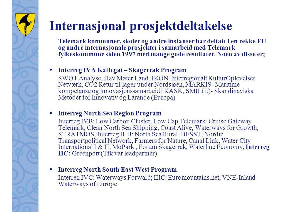 Internasjonal prosjektdeltakelse Telemark kommuner, skoler og andre instanser har deltatt i en rekke EU og andre internasjonale prosjekter i samarbeid med Telemark fylkeskommune siden 1997 med mange gode resultater.