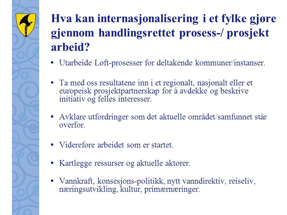 Hva kan internasjonalisering i et fylke gjøre gjennom handlingsrettet prosess-/ prosjekt arbeid.