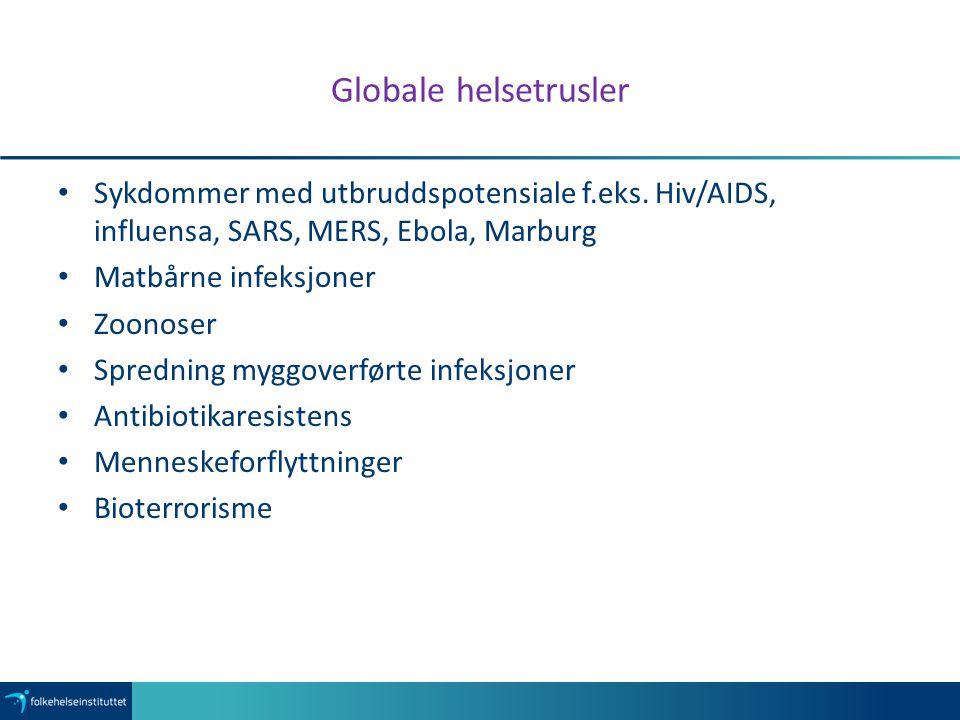 Globale helsetrusler Sykdommer med utbruddspotensiale f.eks.