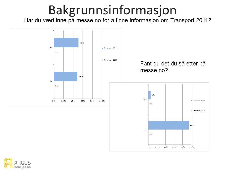Bakgrunnsinformasjon Har du vært inne på messe.no for å finne informasjon om Transport 2011.