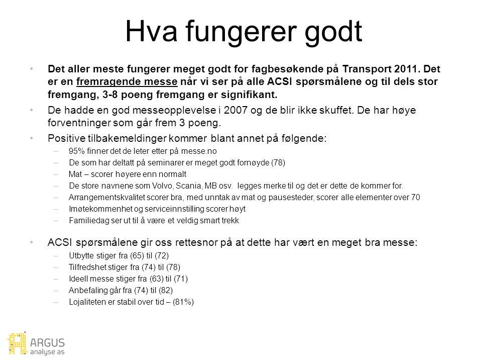 Hva fungerer godt Det aller meste fungerer meget godt for fagbesøkende på Transport 2011.