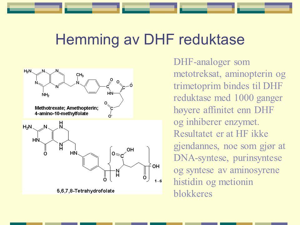 Hemming av DHF reduktase DHF-analoger som metotreksat, aminopterin og trimetoprim bindes til DHF reduktase med 1000 ganger høyere affinitet enn DHF og