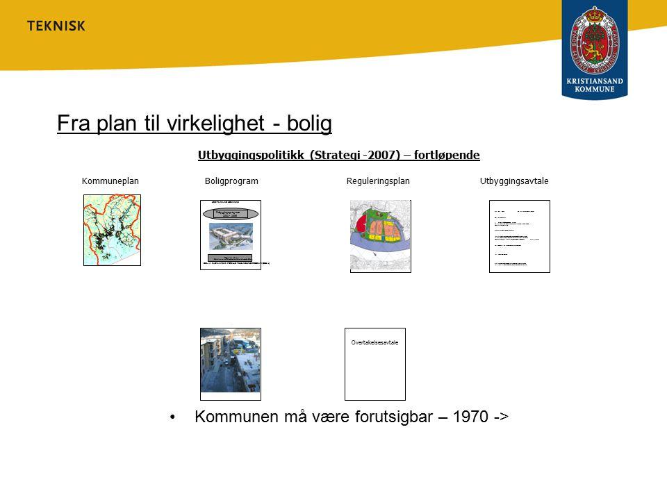 UTBYGGINGSAVTALE Standard nyttig for å ivareta utbyggingspolitikk grunnlag for forhandling Grunneiendom viktig innsatsfaktor Utbyggerne stimuleres til aktivitet –drift/vedl.