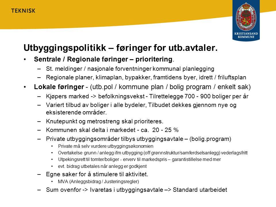 Regionens politikk –Klimaplanen for knutepunktet – reduksjon av trafikk –Regional plan for Kristianandsregionen »Strategi for utbygging – bygge langs akser (buss) og innenfor eksisterende struktur/ i tilknytning til sentre.