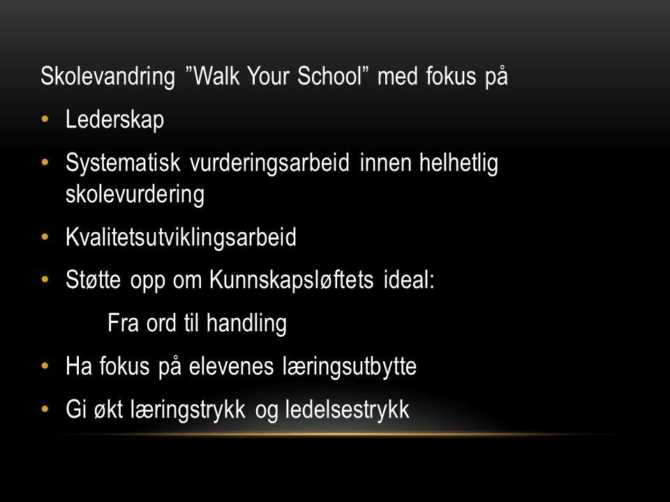 """Skolevandring """"Walk Your School"""" med fokus på Lederskap Systematisk vurderingsarbeid innen helhetlig skolevurdering Kvalitetsutviklingsarbeid Støtte o"""
