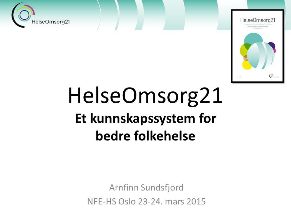 HelseOmsorg21 Et kunnskapssystem for bedre folkehelse Arnfinn Sundsfjord NFE-HS Oslo 23-24.