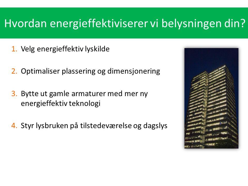 Hvordan energieffektiviserer vi belysningen din? 1.Velg energieffektiv lyskilde 2.Optimaliser plassering og dimensjonering 3.Bytte ut gamle armaturer