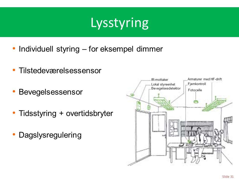 Slide 31 Lysstyring Individuell styring – for eksempel dimmer Tilstedeværelsessensor Bevegelsessensor Tidsstyring + overtidsbryter Dagslysregulering I