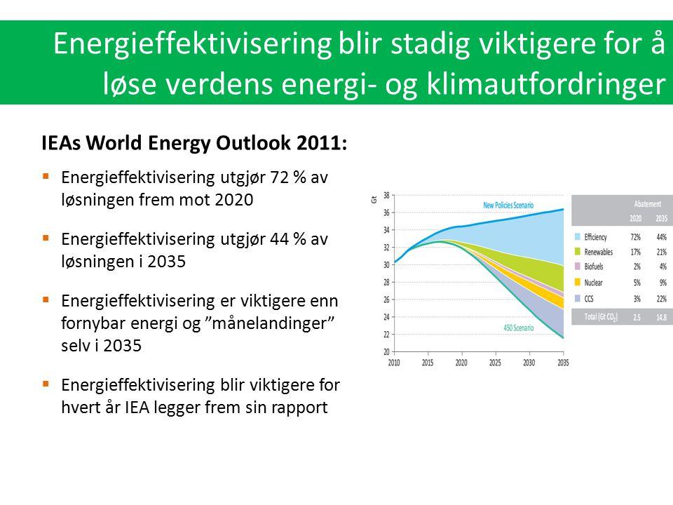  Energieffektivisering utgjør 72 % av løsningen frem mot 2020  Energieffektivisering utgjør 44 % av løsningen i 2035  Energieffektivisering er vikt