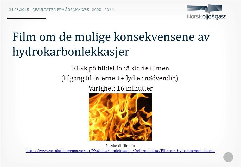 Film om de mulige konsekvensene av hydrokarbonlekkasjer 24.03.2015 - RESULTATER FRA ÅRSANALYSE - 2008 - 2014 Klikk på bildet for å starte filmen (tilgang til internett + lyd er nødvendig).