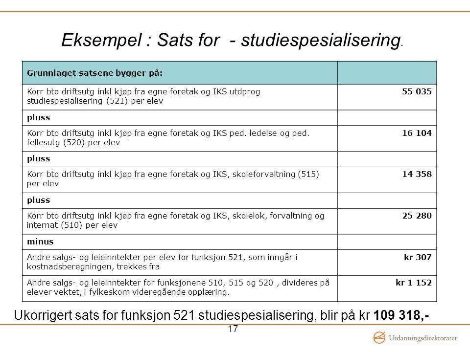 Eksempel : Sats for - studiespesialisering.