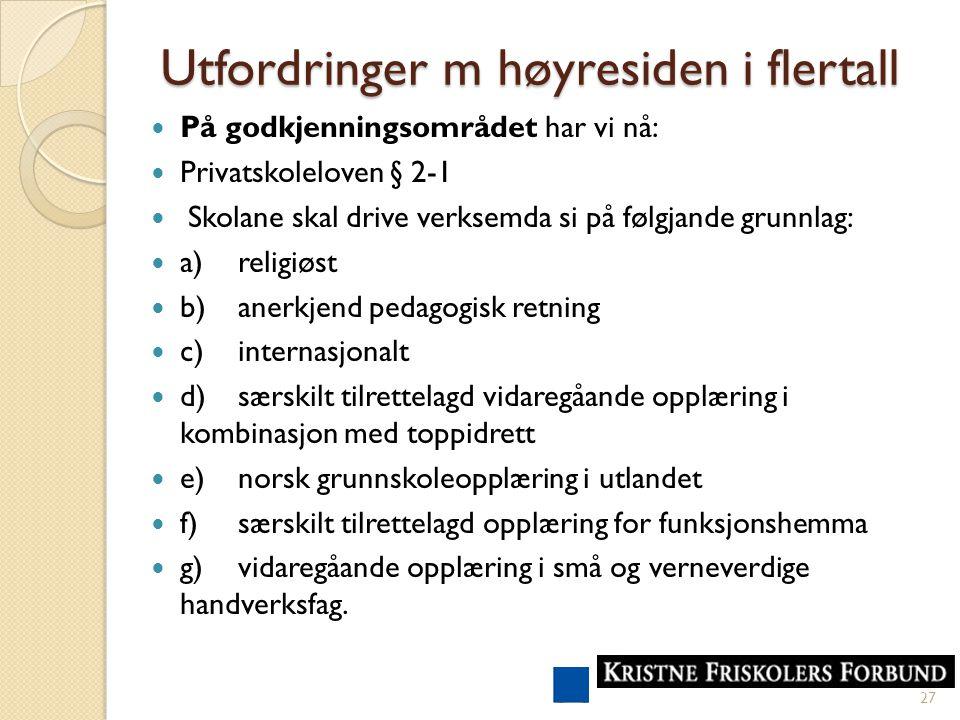 Utfordringer m høyresiden i flertall På godkjenningsområdet har vi nå: Privatskoleloven § 2-1 Skolane skal drive verksemda si på følgjande grunnlag: a)religiøst b)anerkjend pedagogisk retning c)internasjonalt d)særskilt tilrettelagd vidaregåande opplæring i kombinasjon med toppidrett e)norsk grunnskoleopplæring i utlandet f)særskilt tilrettelagd opplæring for funksjonshemma g)vidaregåande opplæring i små og verneverdige handverksfag.