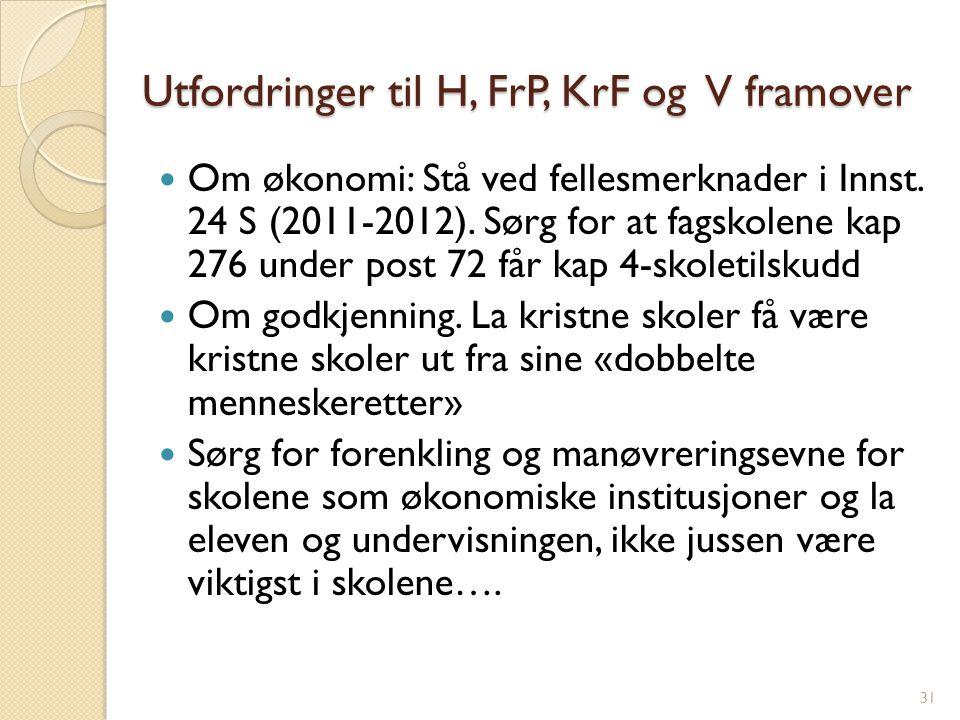 Utfordringer til H, FrP, KrF og V framover Om økonomi: Stå ved fellesmerknader i Innst.