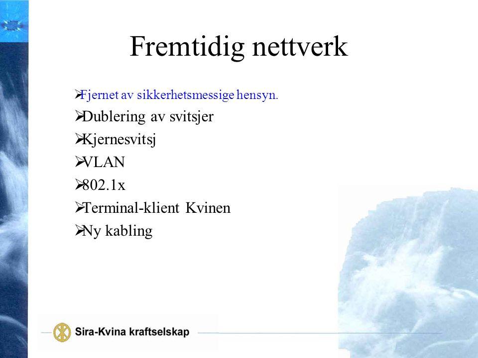 Fremtidig nettverk  Fjernet av sikkerhetsmessige hensyn.  Dublering av svitsjer  Kjernesvitsj  VLAN  802.1x  Terminal-klient Kvinen  Ny kabling