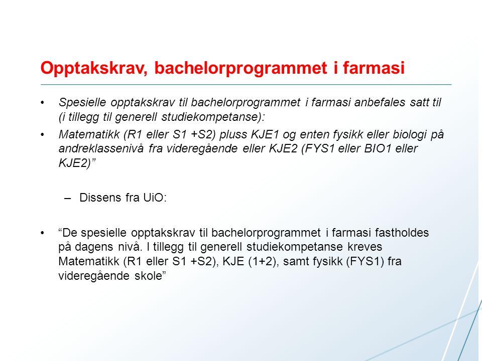 Opptakskrav, bachelorprogrammet i farmasi Spesielle opptakskrav til bachelorprogrammet i farmasi anbefales satt til (i tillegg til generell studiekomp