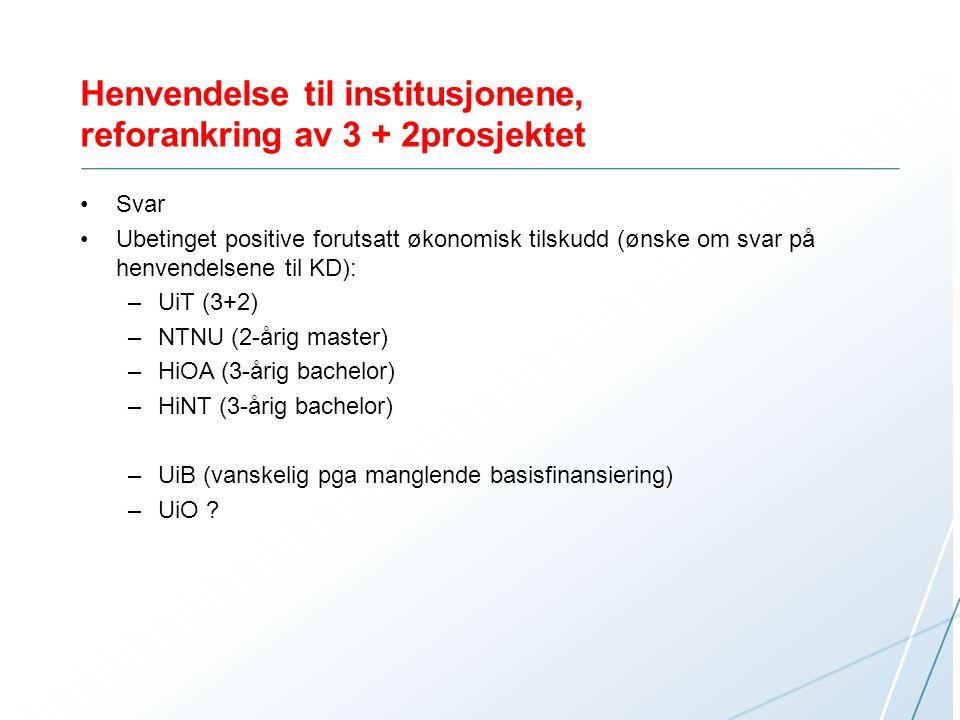 Henvendelse til institusjonene, reforankring av 3 + 2prosjektet Svar Ubetinget positive forutsatt økonomisk tilskudd (ønske om svar på henvendelsene t