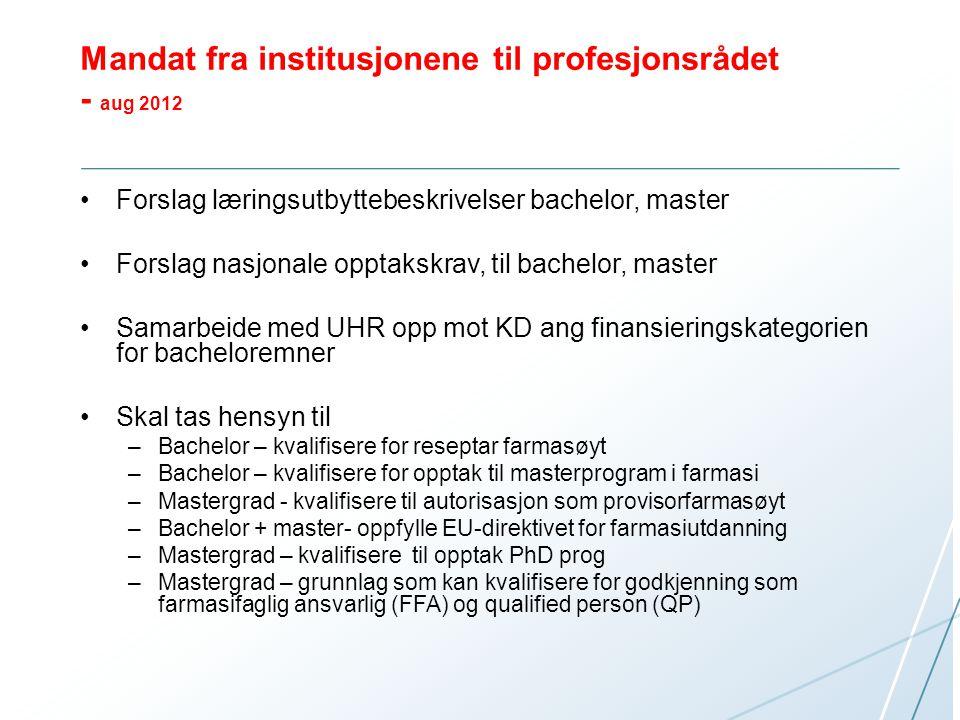 Profesjonsrådet oppnevnte Styringsgruppe –Leder –Ledere ved farmasiutdanningene for farmasiutdanningene + student –Sekretær fra UiT –Referansegruppe (Praksisfeltet) Arbeidsgruppe - Leder -Representanter fra alle farmasiutdanningene + to studenter -Sekretær (UHR, HiOA) -Ekspertgruppe (personlig oppnevnt)