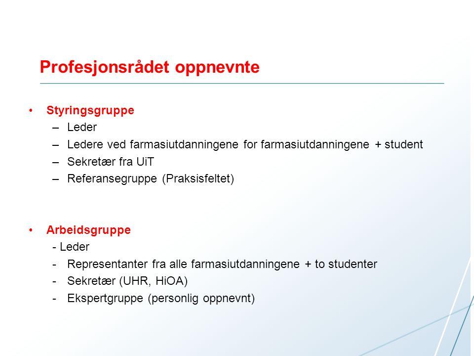 Profesjonsrådet oppnevnte Styringsgruppe –Leder –Ledere ved farmasiutdanningene for farmasiutdanningene + student –Sekretær fra UiT –Referansegruppe (