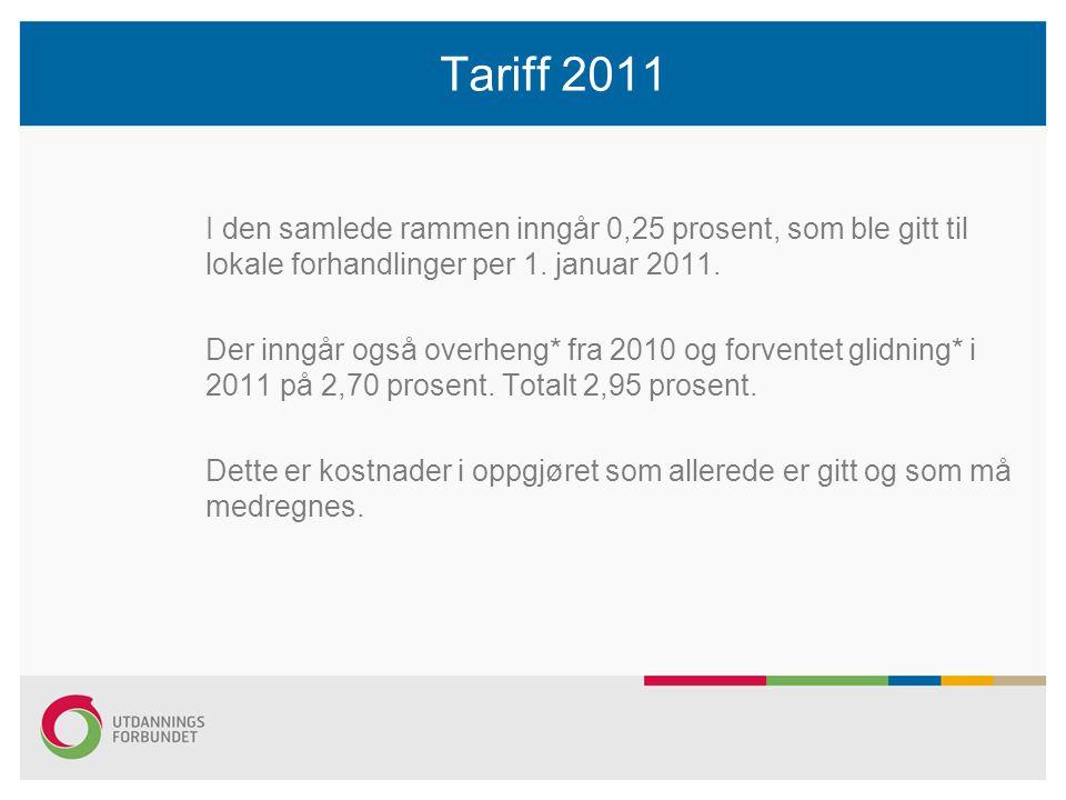 Tariff 2011 I den samlede rammen inngår 0,25 prosent, som ble gitt til lokale forhandlinger per 1. januar 2011. Der inngår også overheng* fra 2010 og