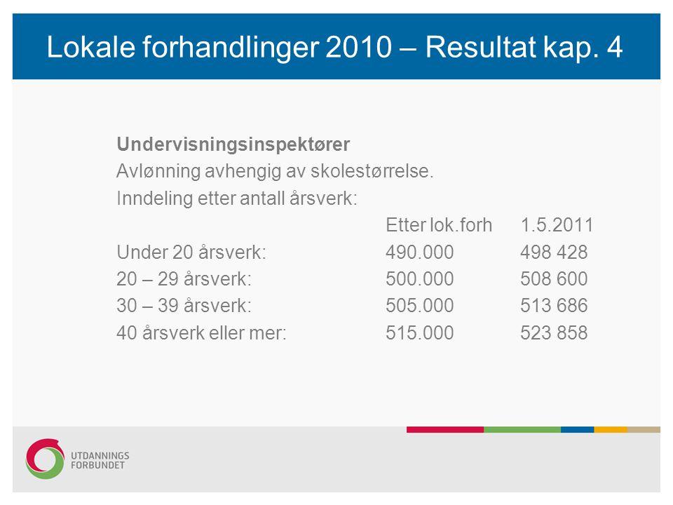 Lokale forhandlinger 2010 – Resultat kap. 4 Undervisningsinspektører Avlønning avhengig av skolestørrelse. Inndeling etter antall årsverk: Etter lok.f
