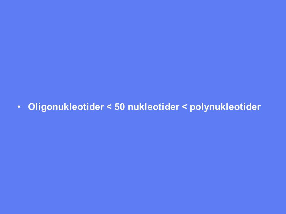 Oligonukleotider < 50 nukleotider < polynukleotider
