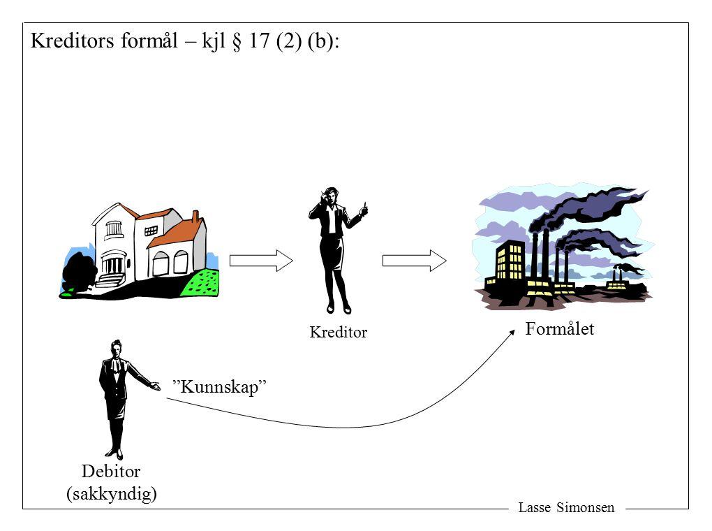 Lasse Simonsen Kreditors formål – kjl § 17 (2) (b): Formålet Kreditor Debitor (sakkyndig) Kunnskap