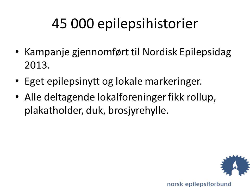 45 000 epilepsihistorier Kampanje gjennomført til Nordisk Epilepsidag 2013. Eget epilepsinytt og lokale markeringer. Alle deltagende lokalforeninger f