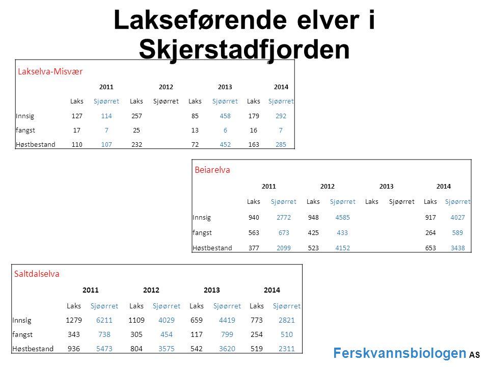Lakseførende elver i Skjerstadfjorden Ferskvannsbiologen AS Futelva Lakselva-Valnesfjord Valneselva Lakselva-Misvær Beiarelva Saltdalselvaelva