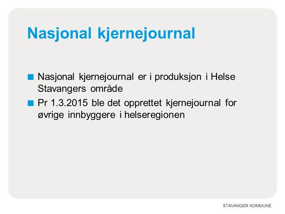 STAVANGER KOMMUNE Nasjonal kjernejournal ■ Nasjonal kjernejournal er i produksjon i Helse Stavangers område ■ Pr 1.3.2015 ble det opprettet kjernejournal for øvrige innbyggere i helseregionen