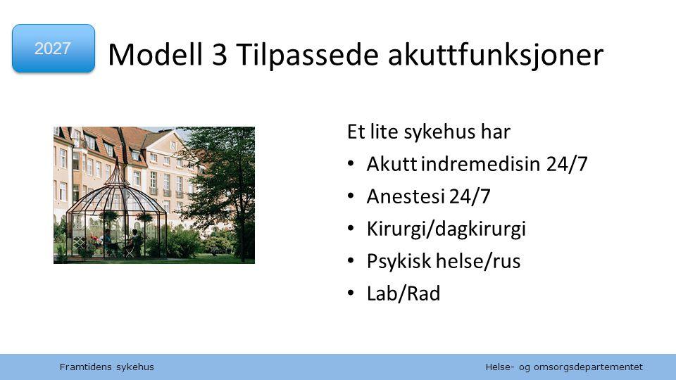 Helse- og omsorgsdepartementet Norsk mal: to innholdsdeler / sammenlikning Modell 3 Tilpassede akuttfunksjoner Framtidens sykehus Et lite sykehus har