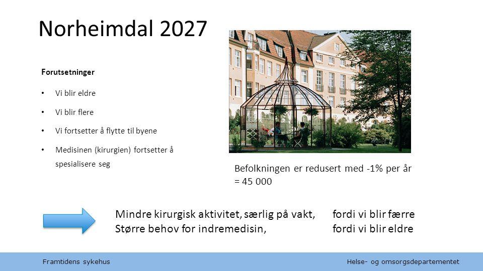 Helse- og omsorgsdepartementet Norsk mal: Diagram Norheimdal 2027 F orutsetninger Vi blir eldre Vi blir flere Vi fortsetter å flytte til byene Medisin